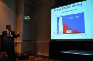 Darijo Babic told GENE '13 attendees about some of the green benefits of coated glass.
