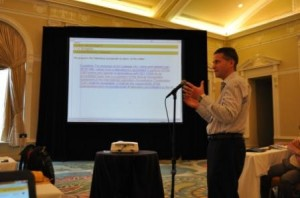 Michael Thoman, Architectural Testing Inc., discusses air leakage rating and labeling at the NFRC Spring 2013 Committee Meeting Week in St. Petersburg, Fla.