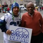 Perfection Glass employee Diego Montes in NYC's Rockefeller Center with NBC's Al Roker. Photo courtesy of Perfection Glass.