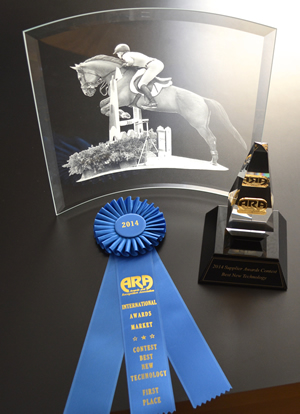This custom-etched 12–by-12-inch crescent (curved glass) award features Starphire glass from PPG. Photo courtesy of the Slee Corp.