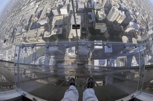 The Ledge extends out of Willis Tower more than four feet and 103 stories above Chicago. (photo credit: Skydeck Chicago)