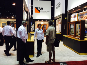 Stacey A. Einck of Andersen Windows speaks with attendees at the AIA Convention in Chicago.