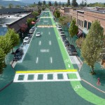Artist's rendition of downtown Sandpoint, Idaho, where Scott and Julie Brusaw reside. (Graphic design by Sam Cornett, Solar Roadways)