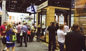 AIA Convention attendees enjoy one of LaCantina's happy hour sessions at the company's award-winning exhibitor booth.