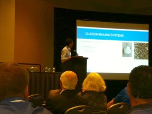 Vincente Montes-Amoros with CDC spoke today at GlassCon about glass breakage in glass railing systems.