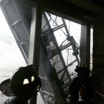 Sixty-eight stories up, firefighters inside One World Trade Center cut through glass using a diamond saw Wednesday to rescue two window washers. (Photo: FDNY)