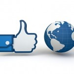3d render of a Facebook thumbs up hand next to a globe.
