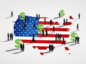 Silhouette Group of People with American Flag
