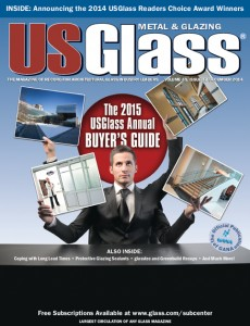 USGlass won an ASBPE award for its cover of the 2015 Buyer's Guide