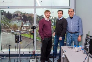 Berkeley Lab scientists (from left) Raymond Weitekamp, Arman Shehabi, and Steve Selkowitz will use the Berkeley Lab windows test lab in developing a paintable heat-reflective coating for low-cost energy efficient windows. (Credit: Roy Kaltschmidt/Berkeley Lab)