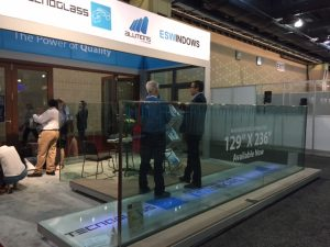 For many exhibitors at this year's AIA show, big glass was a big deal. Tecnoglass is one of several companies offering large-sized glass lites.