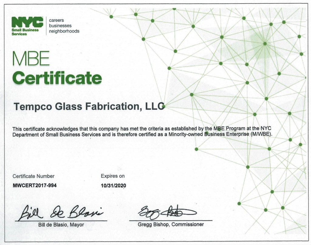 Tempco Glass Fabrication Receives New York City Mbe Certification